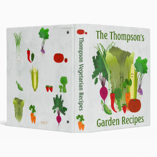 Personalized Garden Recipes 3 Ring Binder
