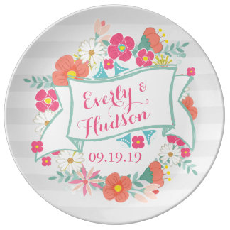 Personalized Garland Floral Wedding Porcelain Plates