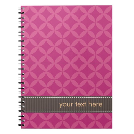Personalized Geometric Diamonds Pink Flambé Notebook