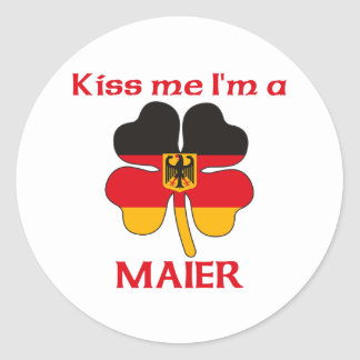 Personalized German Kiss Me I'm Maier Classic Round Sticker