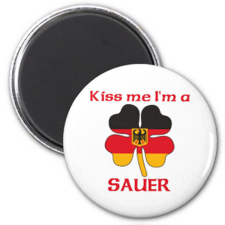 Personalized German Kiss Me I'm Sauer 2 Inch Round Magnet