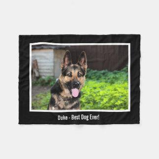Personalized German Shepherd Dog Photo, Dog Name Fleece Blanket