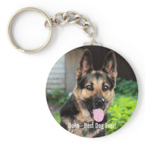 Personalized German Shepherd Dog Photo, Dog Name Keychain