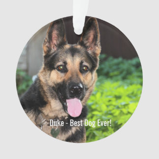 Personalized German Shepherd Dog Photo, Dog Name Ornament