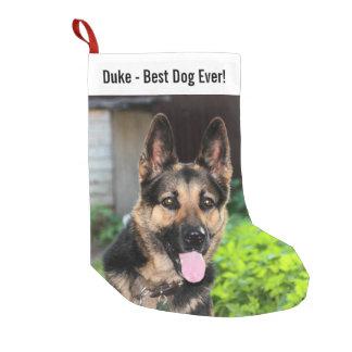 Personalized German Shepherd Dog Photo, Dog Name Small Christmas Stocking