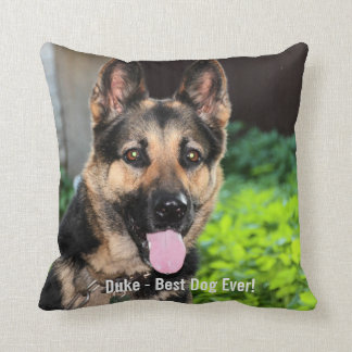 Personalized German Shepherd Dog Photo, Dog Name Throw Pillow