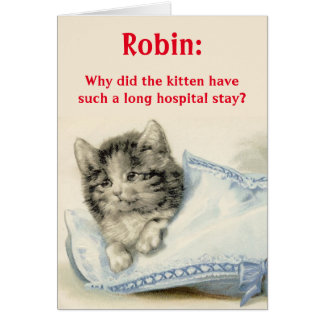 Personalized Get Well Card with Cute Cat Joke