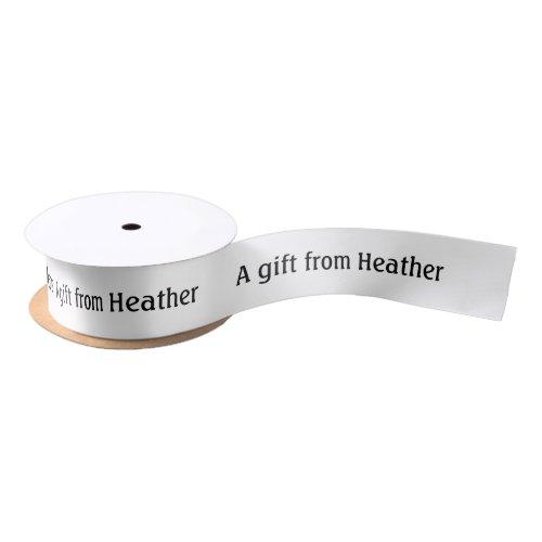 Personalized Gift Favor Name White & Black Satin Ribbon