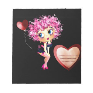 Personalized Gift of Love, fun cartoon girl hearts Notepad