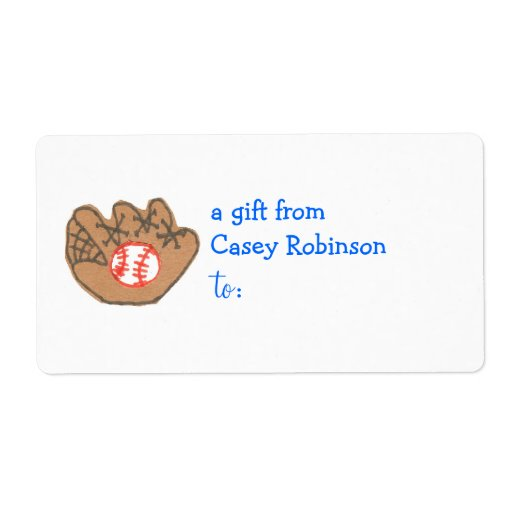 Personalized gift tag label -- baseball theme