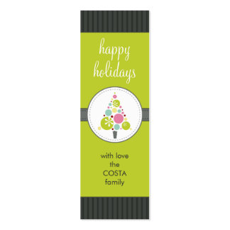 PERSONALIZED GIFT TAG :: modern spotty tree AP3 Double-Sided Mini Business Cards (Pack Of 20)