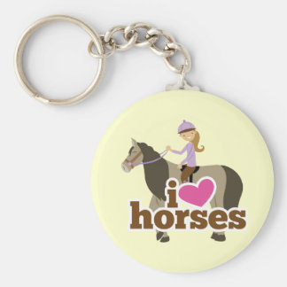 Personalized gifts for girls - I heart love horses Key Chain