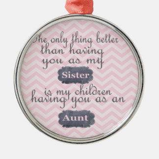 Personalized Gifts for Sister or Aunt Metal Ornament
