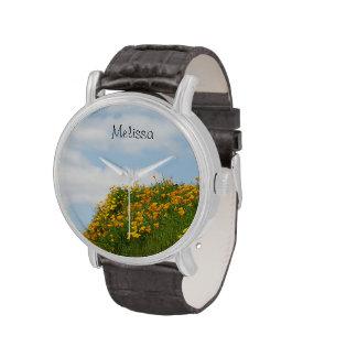 Personalized gifts Names Orange Poppy Flowers Sky Wristwatches