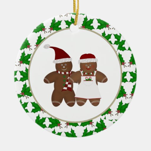 Personalized Gingerbead Couple with Holly Ornament
