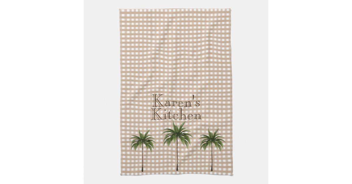 Personalized Gingham Check | Green Palm Trees Hand Towel | Zazzle.com