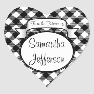 Personalized Gingham From The Kitchen of Label Heart Sticker