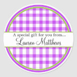 Personalized  Gingham Gift Stickers