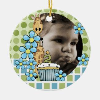 Personalized Giraffe 2nd Birthday Photo Ornament