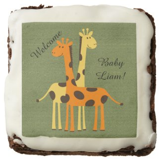 Personalized Giraffe Baby Shower Brownies