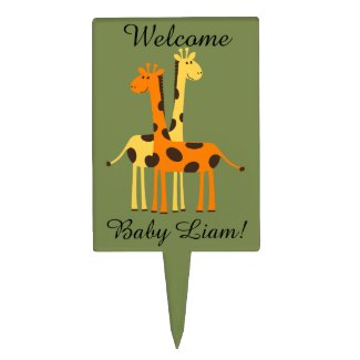 Personalized Giraffe Baby Shower Cake Pick