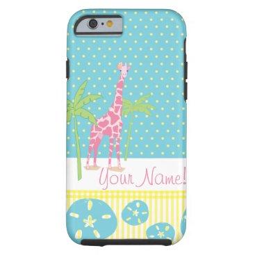 Beach Themed Personalized Giraffe iPhone 6 case
