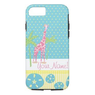 Beach Themed Personalized Giraffe iPhone 7 case