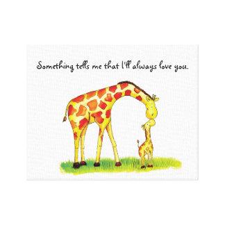 Personalized Giraffe Nursery Art Canvas Print