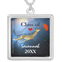 Personalized Giraffe Oh the Places We Will Go Silver Plated Necklace