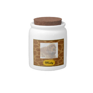 Personalized Giraffe Pet Treat Jar Candy Jar