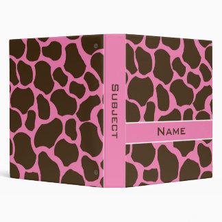 Personalized Giraffe Print School Binder