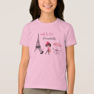Personalized Girl and Cat Paris T-Shirt
