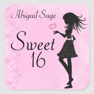 Personalized Girl and Hearts Sweet 16 Stickers