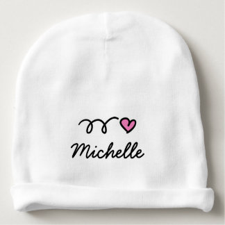 Personalized girl baby hat with cute pink heart