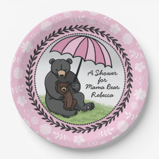 Personalized Girl Baby Shower Mama Bear and Cub Paper Plate