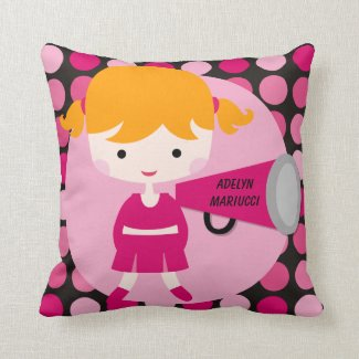 Personalized Girl Cheerleader Throw Pillow