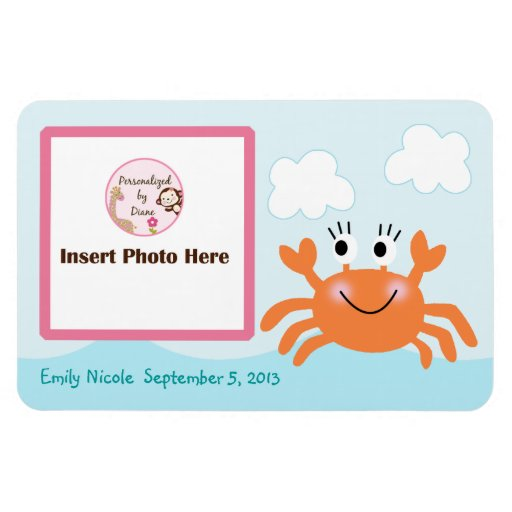 Personalized Girl Crab Photo Magnet Keepsake