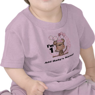 Personalized Girl Monkey in Party Hat 1st Birthday T Shirt