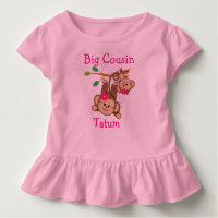 Personalized Girl Monkeys Big Cousin Toddler T-shirt