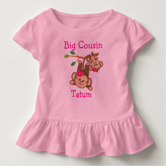 Personalized Girl Monkeys Big Cousin Toddler T-shirt