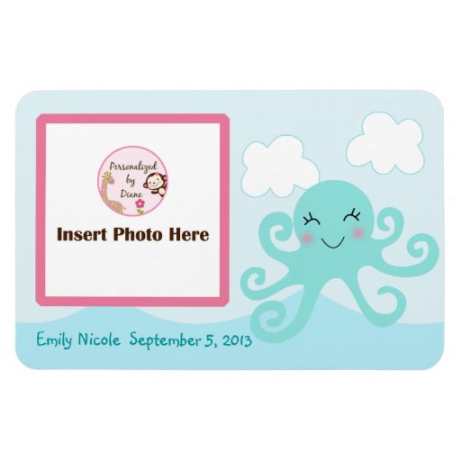 Personalized Girl Octopus Photo Magnet Keepsake