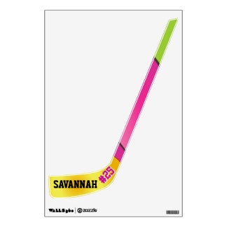 Personalized Girl Pink and Green Hockey Wall Decal