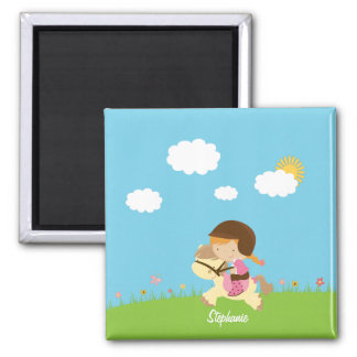 Personalized girl riding a horse floral magnets