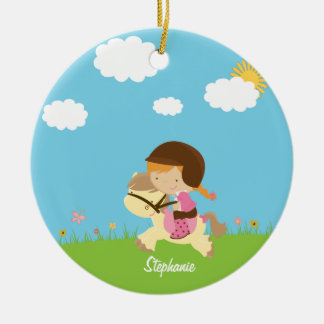 Personalized girl riding a horse floral ornament