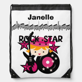 Personalized Girl Rock Star Drawstring Bag