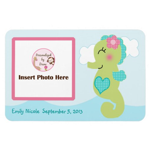 Personalized Girl Seahorse Photo Magnet Keepsake