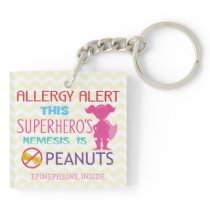 Personalized Girl Superhero Peanut Allergy Kids Keychain