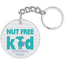 Personalized Girl Superhero Tree Nut Allergy Keychain