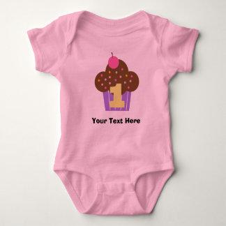 Personalized Girls 1st Birthday Cupcake Baby Bodysuit