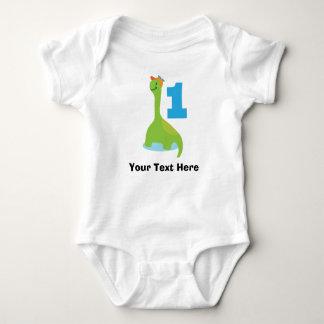 Personalized Girls 1st Birthday Dinosaur Baby Bodysuit